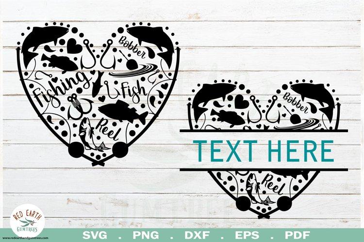 Fish heart frame SVG,Fish heart split monogram frame SVG,PNG