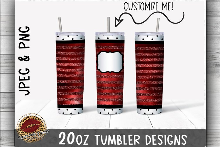 Sublimation 20oz Tumbler Wrap Red & Polka Dot Glitter & Foil example image 1
