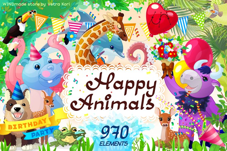 vector set Happy Animals