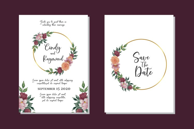Flower Watercolor Wedding Invitation Elegant SVG Template example image 1