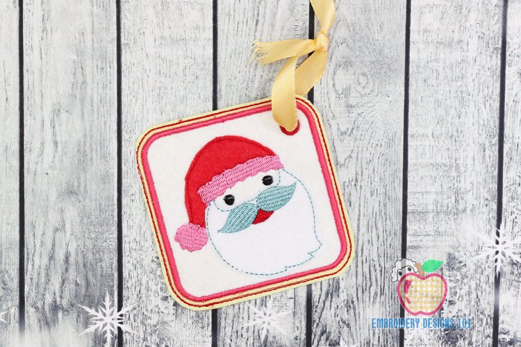 Happy Santa Face Ornament Embroidery example image 1