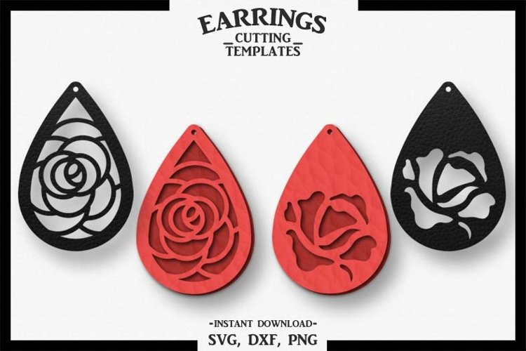 Rose Earring, Silhouette Cameo, Cricut, Cut, SVG DXF PNG example image 1