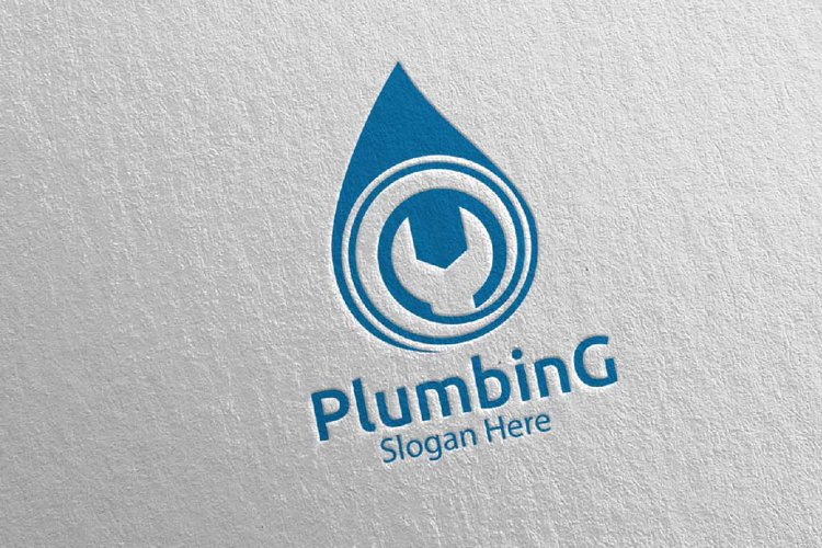 Plumbing Logo with Water and Fix Home Concept 82 example image 1