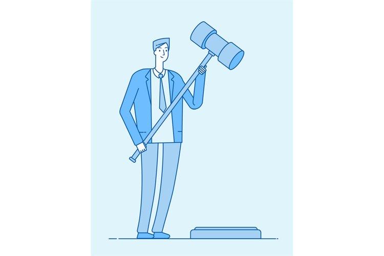 Lawyer with gavel. Jurisdiction legal verdict lawyers legisl example image 1