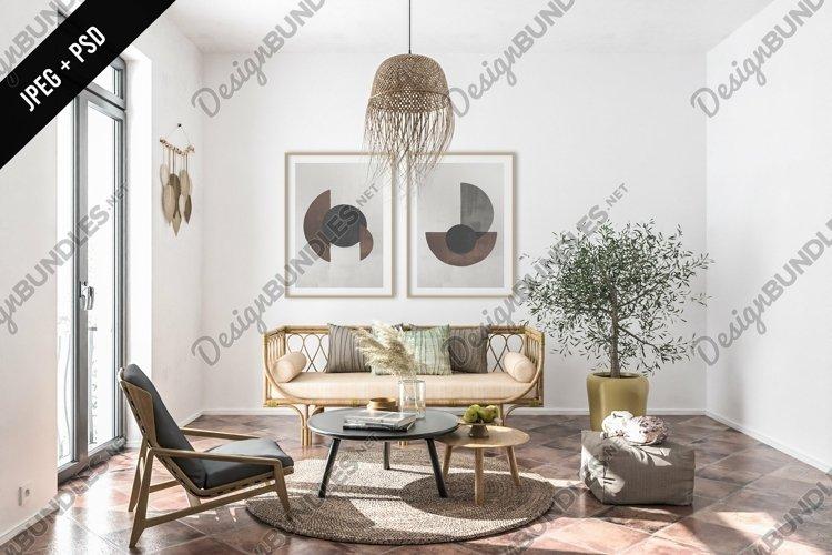 Boho living room mockup - frame & canvas mockup creator