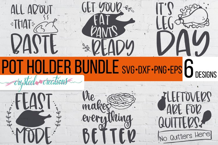 Thanksgiving Pot Holder Bundle SVG, DXF, PNG, EPS example image 1