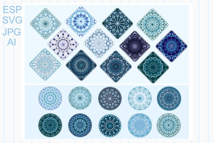 Mandalas in a round and diamond shape example image 1