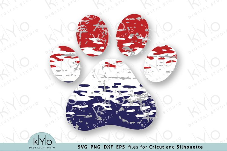 4th of July American Dog Paw Distressed Ombre Svg Png files