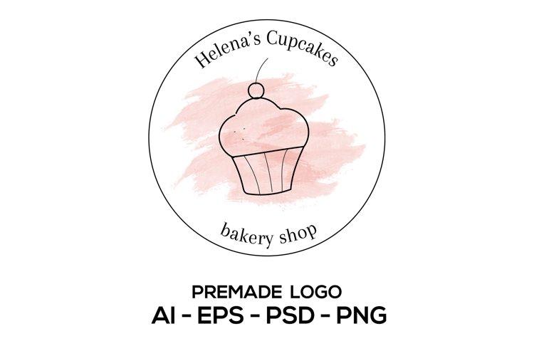 Cupcake Logo, Bakery Logo Template, Femenine Bakery Logo