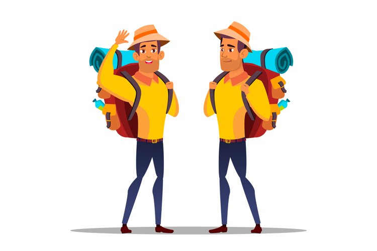 Character Man Hiker With Large Backpack Vector example image 1