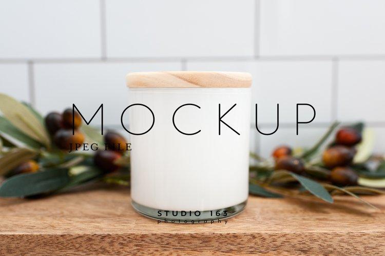 Candle Mockup, White Candle Mockup, Blank Candle Mockup example image 1