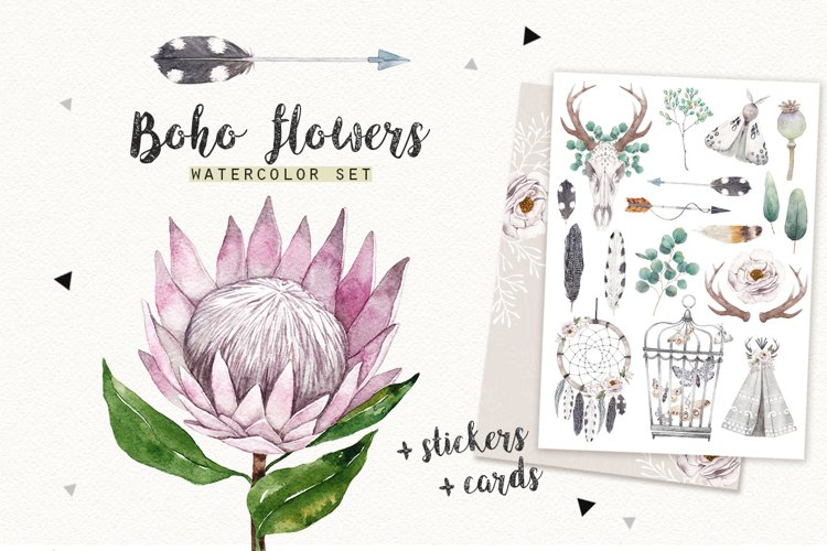 BOHO FLOWERS watercolor set example image 1