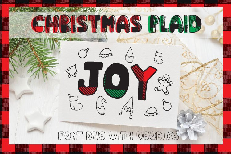 Christmas buffalo plaid font with doodles elements example image 1