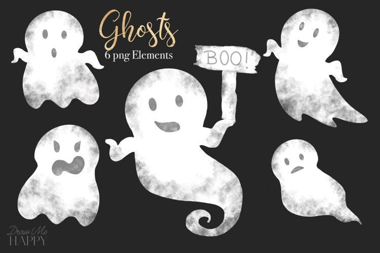 Ghost Clipart, Halloween Clipart, Ghosts,Ghost Boo, Boo Sign example image 1