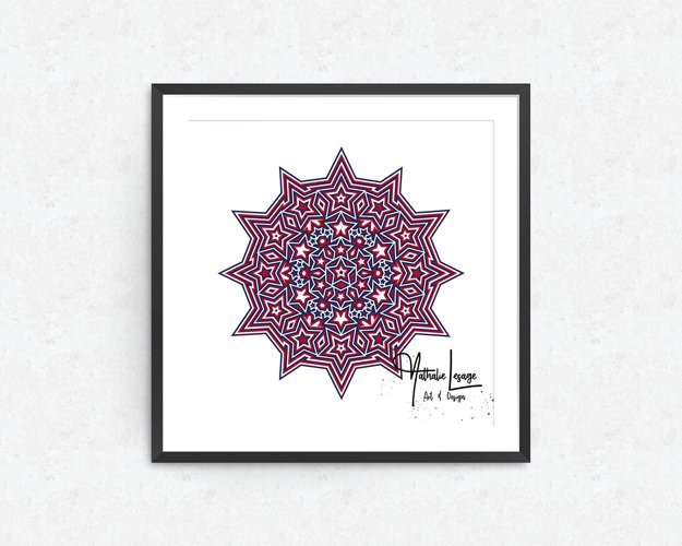 3D Mandala 8 Layers Stars and Stripes SVG Cut File 4th July example 1