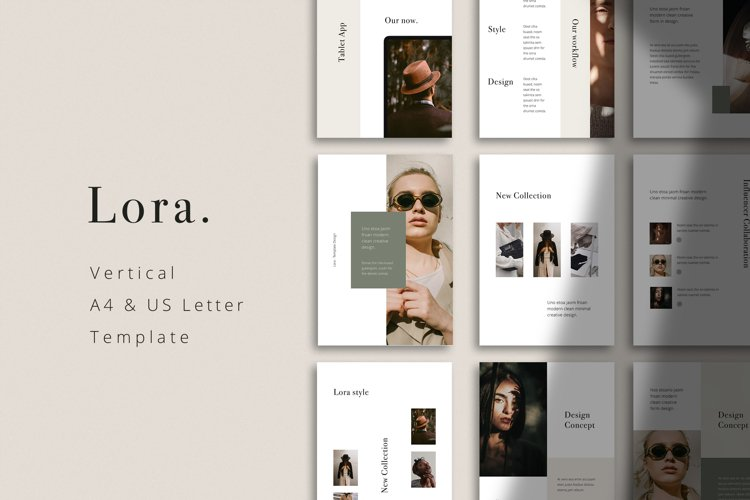 LORA - Powerpoint Vertical A4 and US Letter Template example image 1