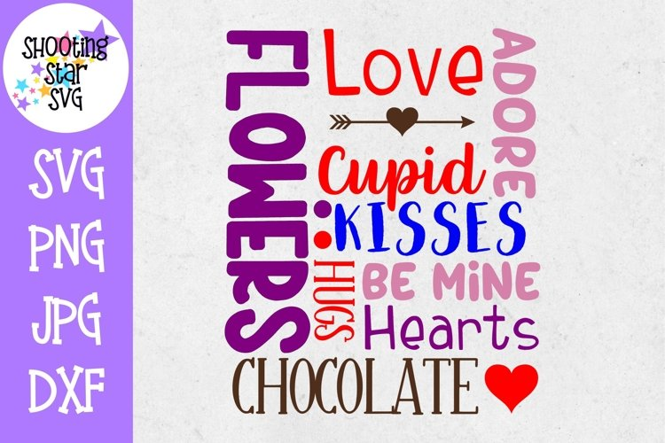 Valentines Day Subway Art SVG - Valentines Day Words