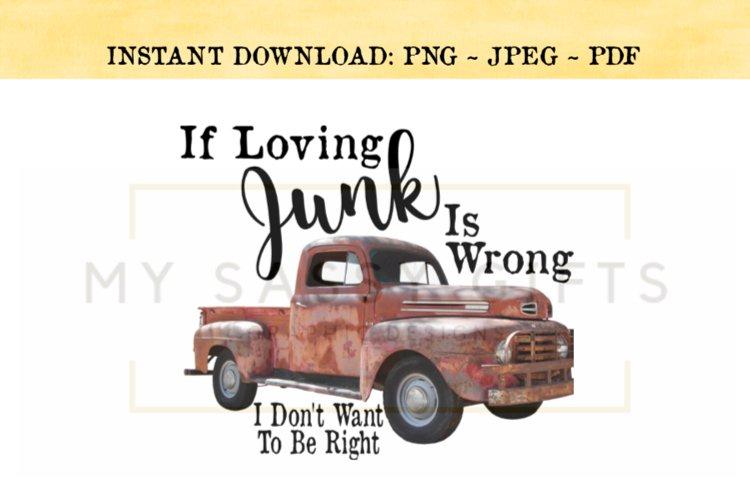 Vintage Junking Vintage Antique Picking Red Truck PNG Clip example image 1