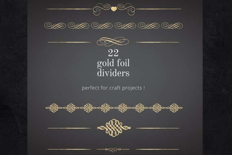 22 Page Dividers and Borders, Gold Foil Clipart Dividers example image 1