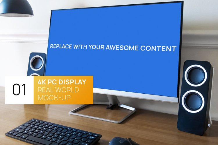 4K PC Display Workspace Photo Mockup