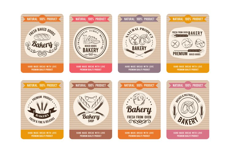 Price cards with different types of bread. Labels for bakery example image 1