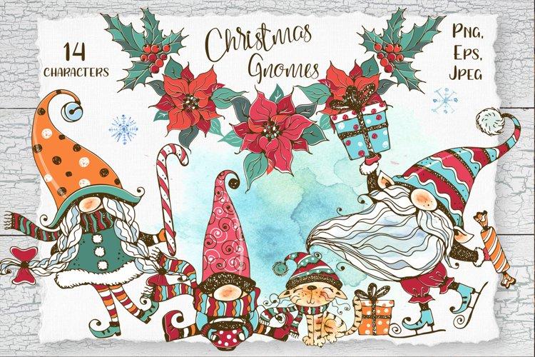 Christmas gnomes watercolor Png Nordic family of gnomes