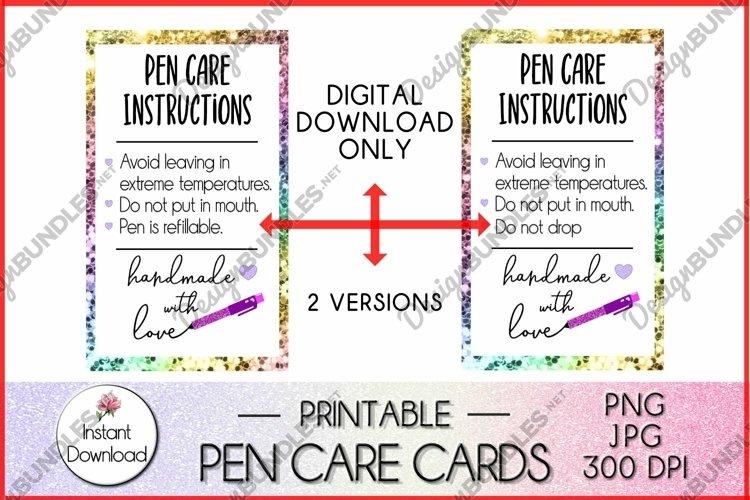 Pen Care Card, Glitter Pen Care Instructions