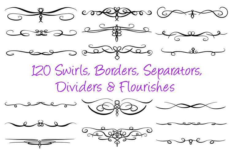 120 Swirl Borders Separator Dividers & Flourishes Collection