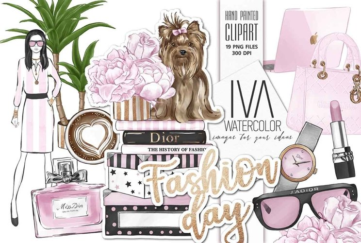 Fashion Day Clipart Set, Fashion Digital Accessories Clipart example image 1