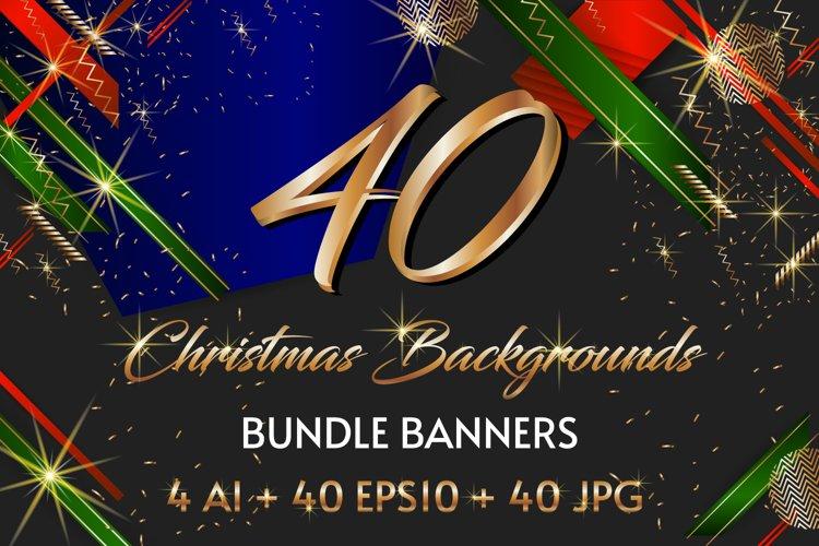 40 Christmas backgrounds bundle banners Ai Eps Jpg