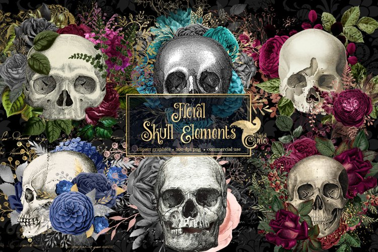 Floral Skull Graphic Elements example image 1