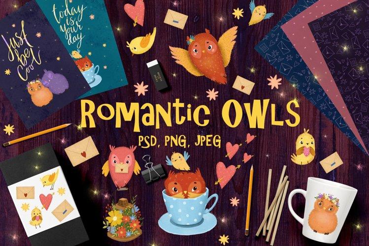 Romantic owls birds clipart
