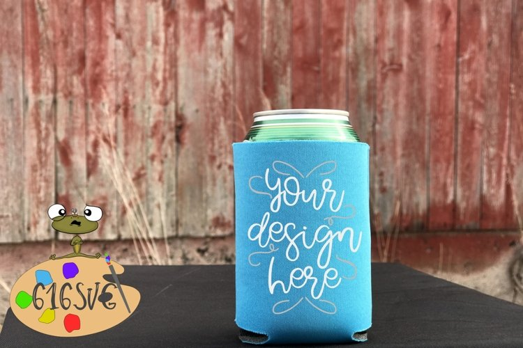 Neon Blue Can Cooler Mockup