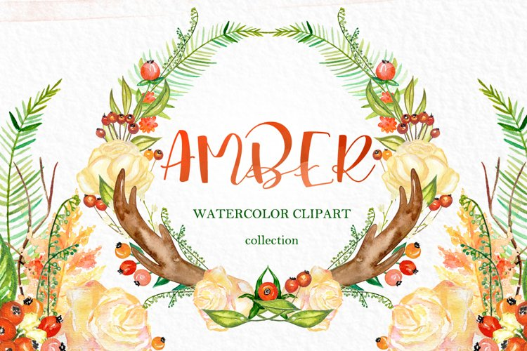 Amber forest. Fall watercolor clipart example image 1