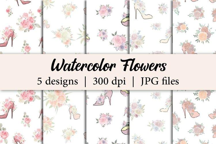Watercolor Flowers with High Heels Digital Paper