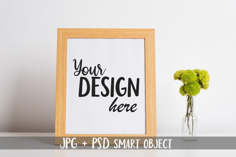 Wooden Frame Mock up with Smart Object, Green Spring Flowers example image 1