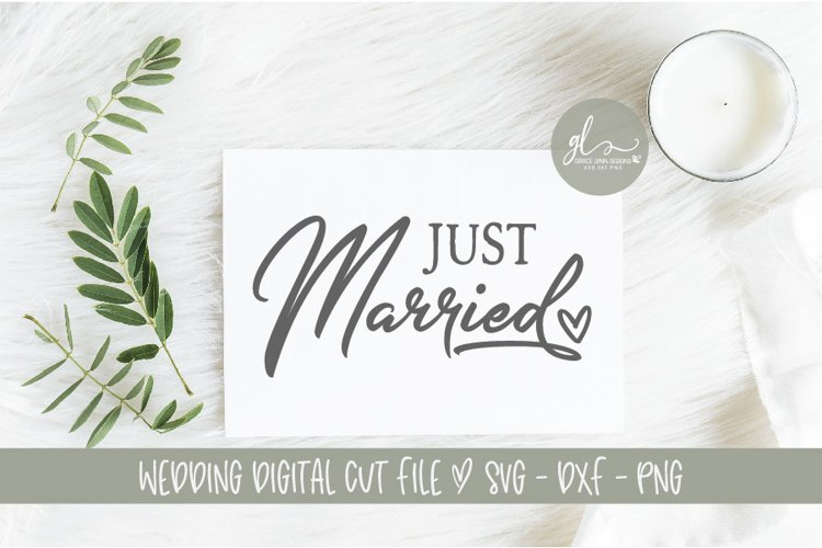 Just Married - Wedding Sign Cut File - SVG, DXF & PNG example