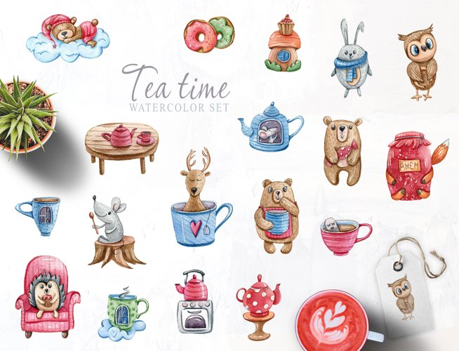 Watercolor cute forest animals clipart. Tea time collection example 1