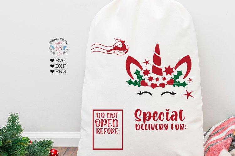 Santa Unicorn SVG - Santa sack sign Sublimation - Cut File example image 1