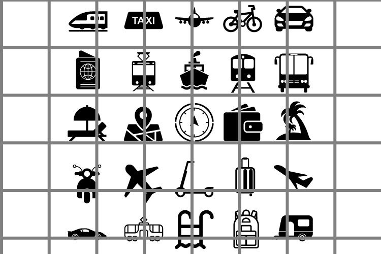 Travel or journey icons black vector set. Vacation symbols. example image 1