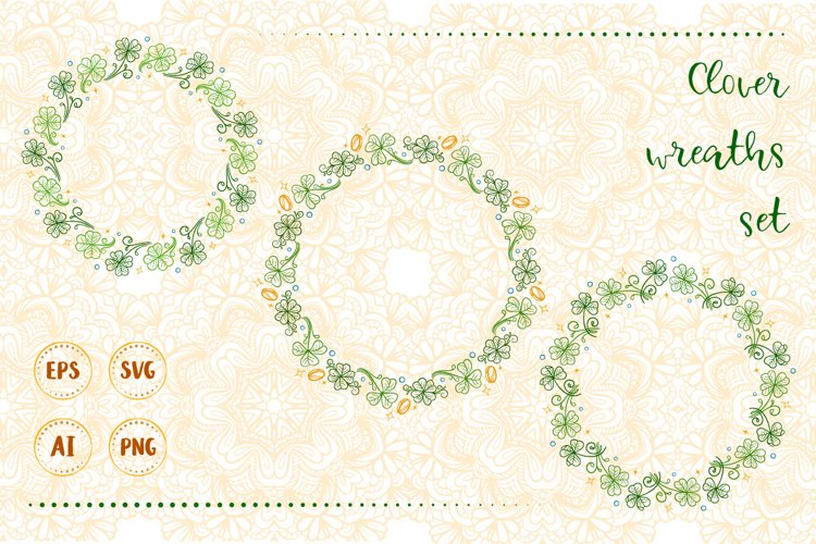 Lucky clover wreaths set. example image 1