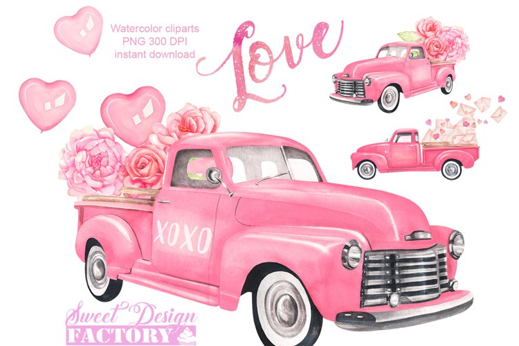 Valentines day truck watercolor clipart