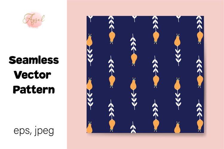 Orange Flowers Digital Paper, Seamless Pattern example image 1