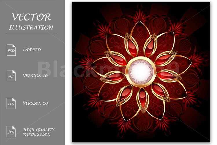 Round Banner with Abstract Flower example image 1