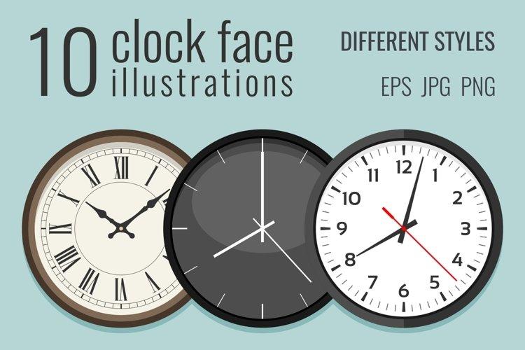 10 clock face illustrations