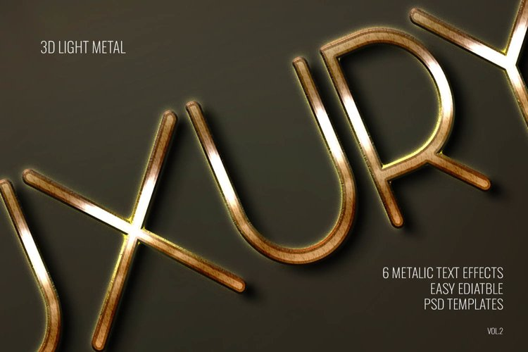3D Light Metal Text Effect - 6 Editable PSD Templates Vol.2