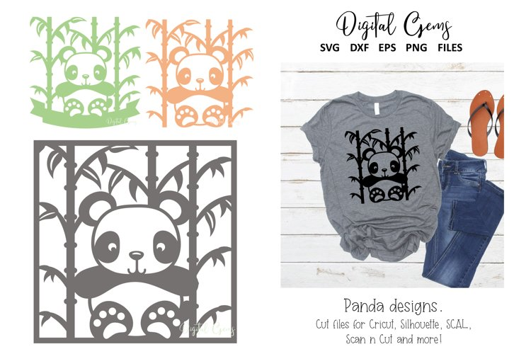 Panda paper cut designs. SVG / DXF / EPS / PNG Files example image 1