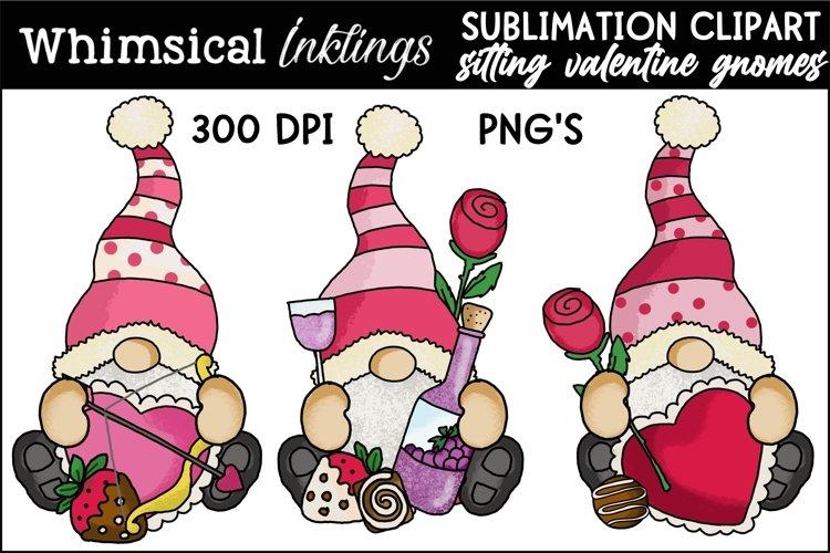 Sitting Valentine Gnome Trio Sublimation Clipart example image 1