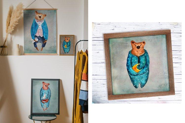 Set of watercolor bears example 2