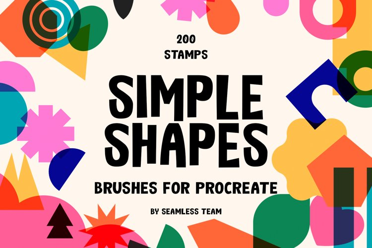 200 Simple Shapes Brushes For Procreate example image 1